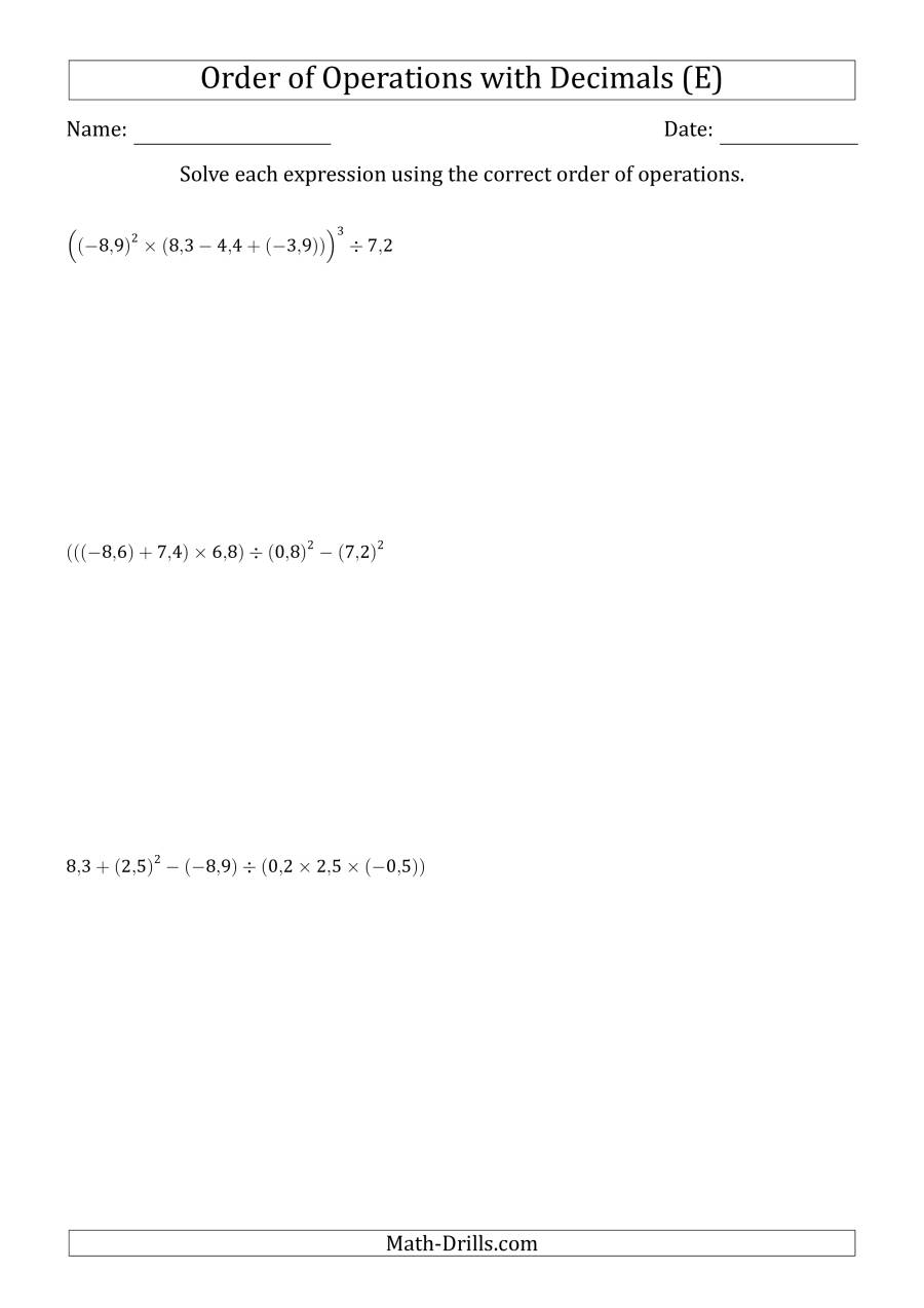 The Order of Operations with Negative and Positive Decimals (Six Steps; Comma Decimal Format) (E) Math Worksheet