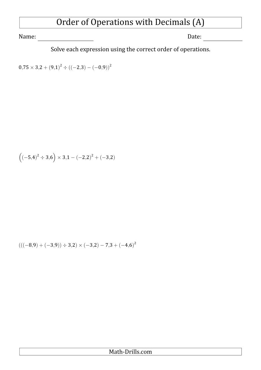 The Order of Operations with Negative and Positive Decimals (Six Steps; Comma Decimal Format) (All) Math Worksheet