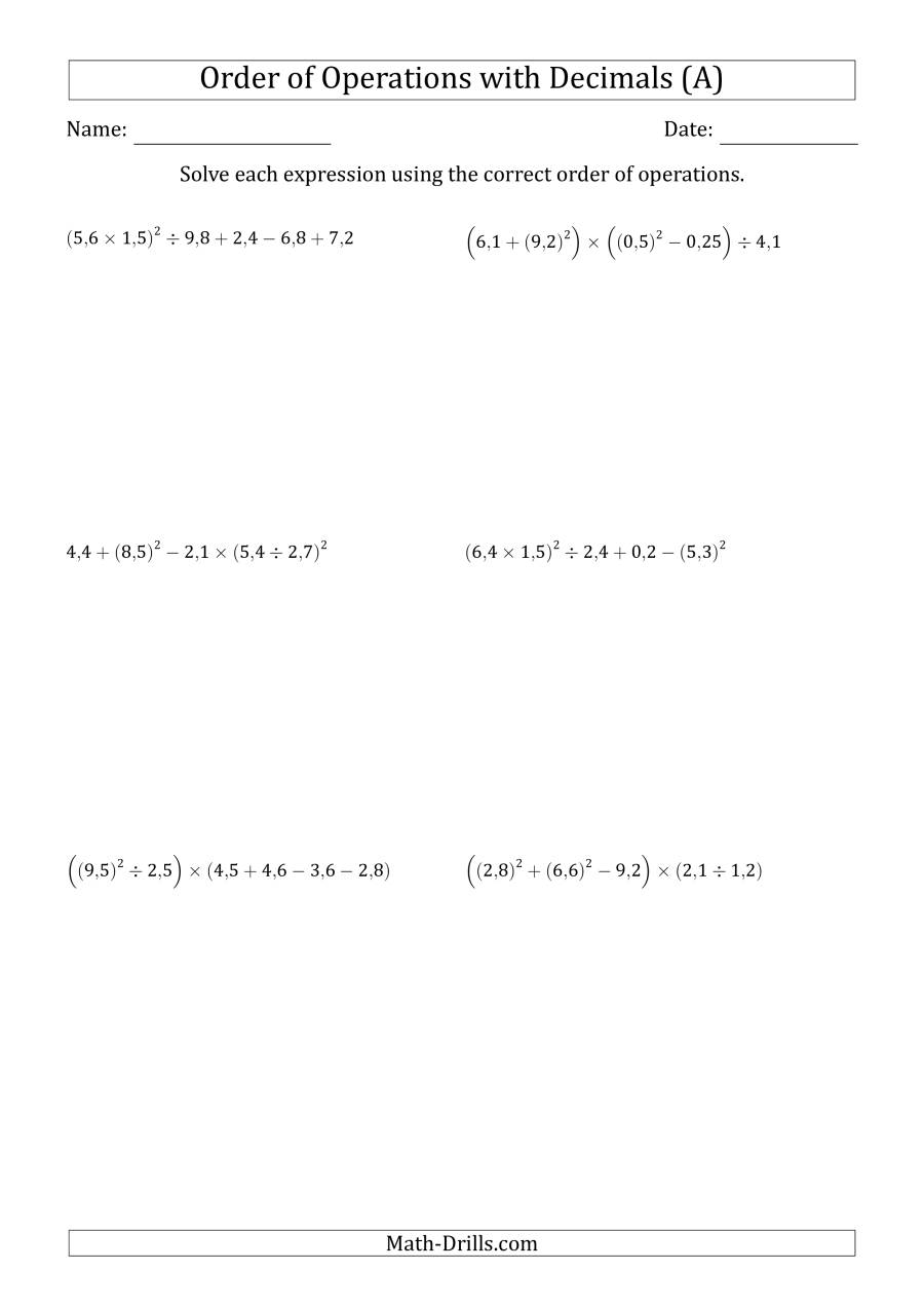 The Order of Operations with Positive Decimals (Six Steps; Comma Decimal Format) (A) Math Worksheet
