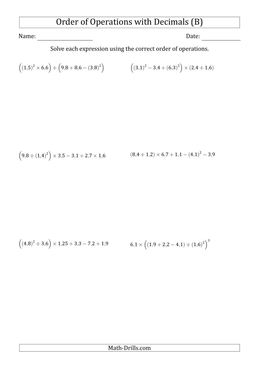 The Order of Operations with Positive Decimals (Six Steps; Comma Decimal Format) (B) Math Worksheet