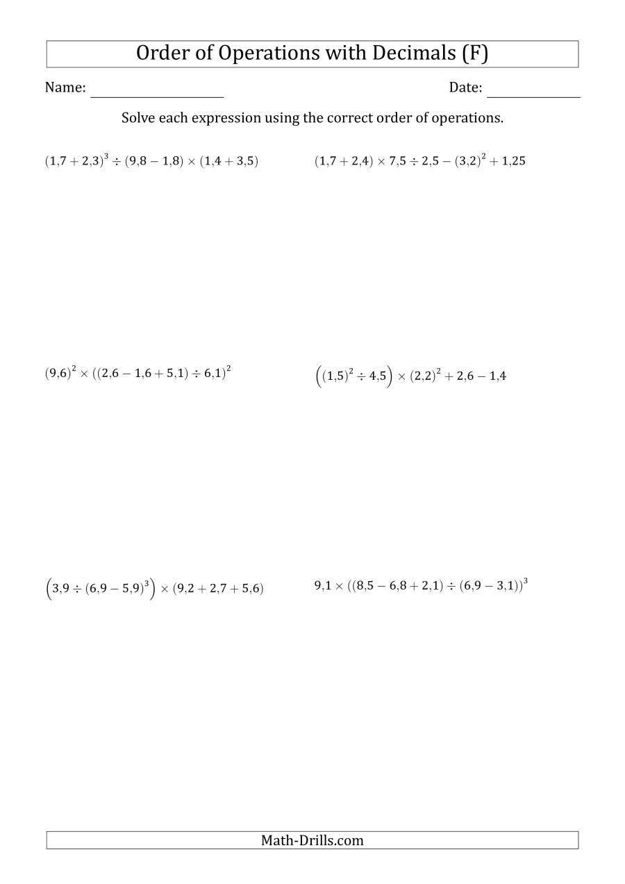 The Order of Operations with Positive Decimals (Six Steps; Comma Decimal Format) (F) Math Worksheet