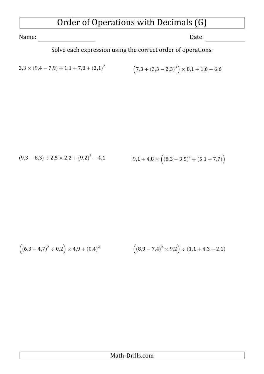 The Order of Operations with Positive Decimals (Six Steps; Comma Decimal Format) (G) Math Worksheet