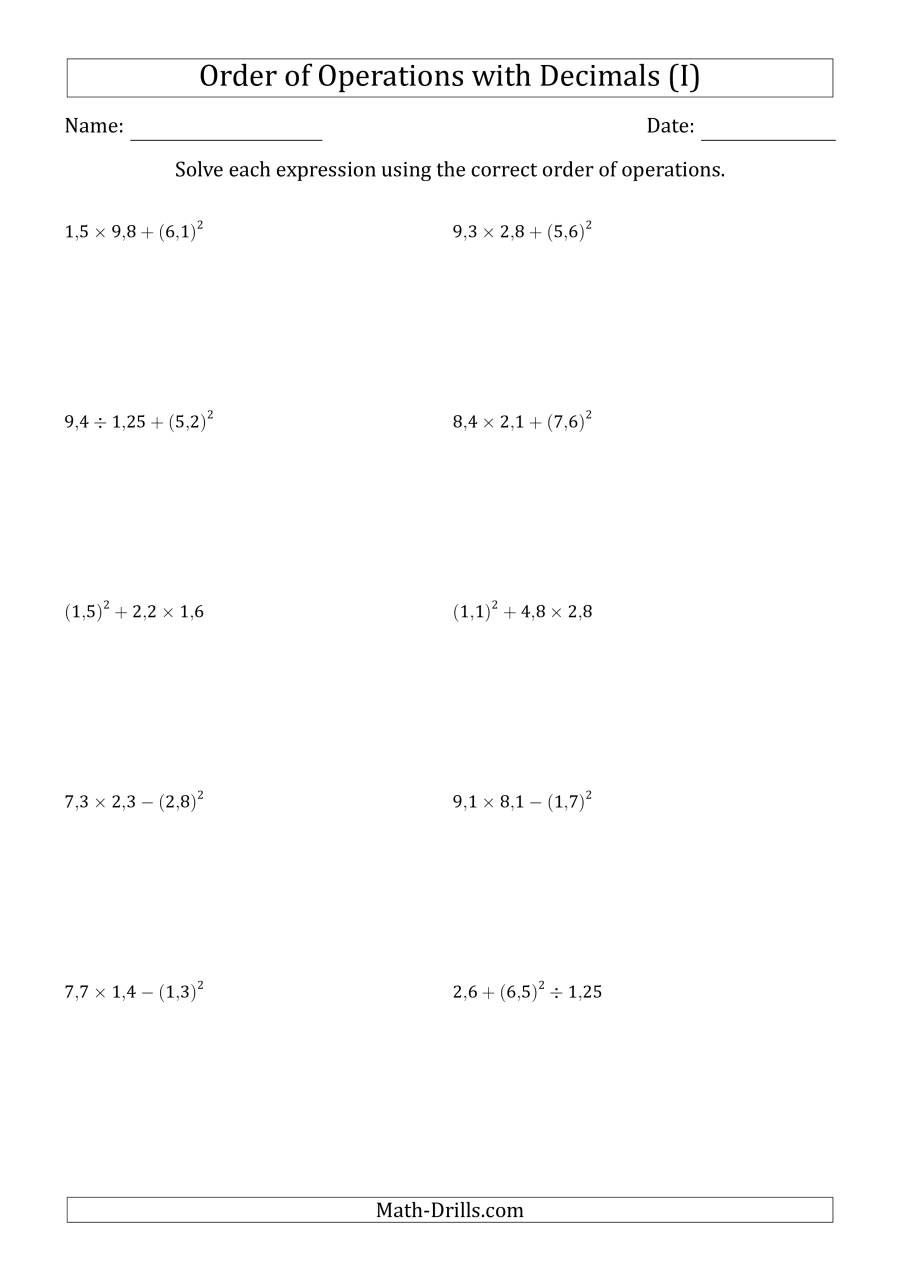 The Order of Operations with Positive Decimals (Three Steps; Comma Decimal Format) (I) Math Worksheet