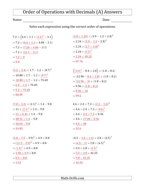 The Order of Operations with Positive Decimals (Five Steps) (A) Math Worksheet Page 2