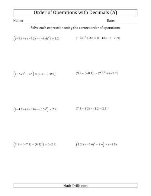 Order of Operations with Negative and Positive Decimals Four – Pemdas Worksheet