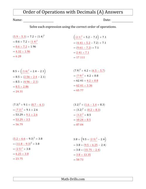 The Order of Operations with Positive Decimals (Four Steps) (A) Math Worksheet Page 2