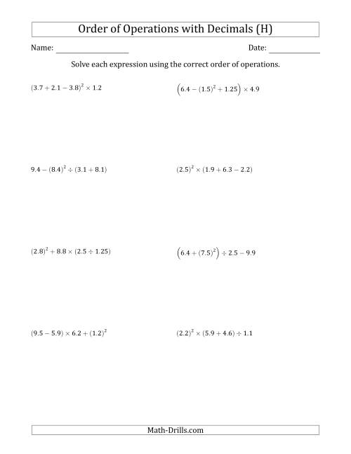 The Order of Operations with Positive Decimals (Four Steps) (H) Math Worksheet