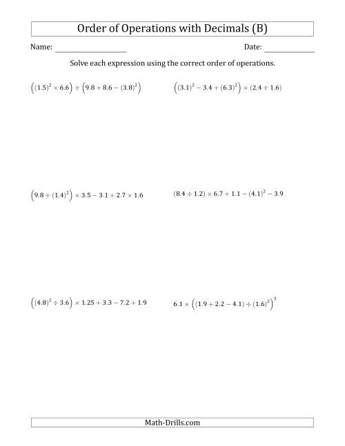 The Order of Operations with Positive Decimals (Six Steps) (B) Math Worksheet