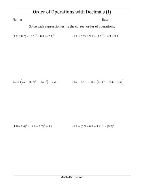 The Order of Operations with Positive Decimals (Six Steps) (I) Math Worksheet