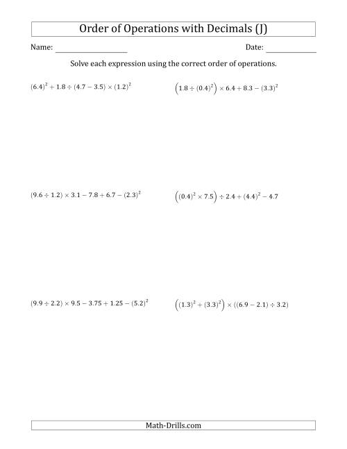 The Order of Operations with Positive Decimals (Six Steps) (J) Math Worksheet