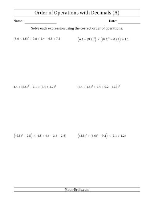 The Order of Operations with Positive Decimals (Six Steps) (All) Math Worksheet
