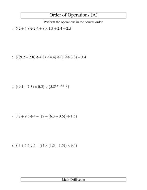 The Decimals Order of Operations -- Six Steps (Old) Math Worksheet