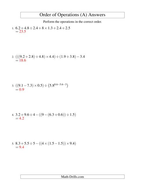 The Decimals Order of Operations -- Six Steps (Old) Math Worksheet Page 2