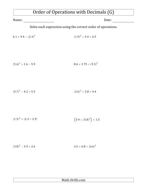 The Order of Operations with Positive Decimals (Three Steps) (G) Math Worksheet