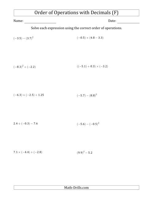 The Order of Operations with Negative and Positive Decimals (Two Steps) (F) Math Worksheet
