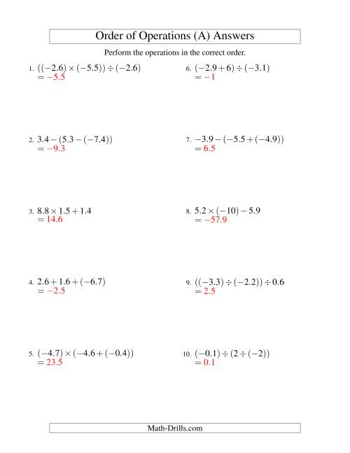 The Decimals Order of Operations -- Two Steps Including Negative Decimals (Old) Math Worksheet Page 2