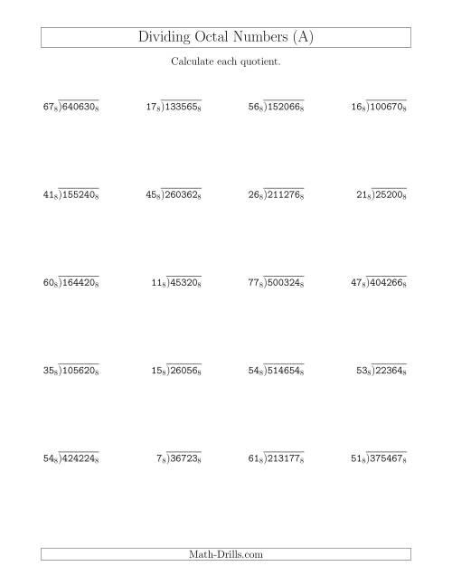 worksheet Dividing Numbers Worksheet dividing octal numbers base 8 a