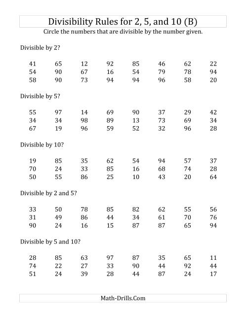 Divisibility Rules For 2 5 And 10 2 Digit Numbers B
