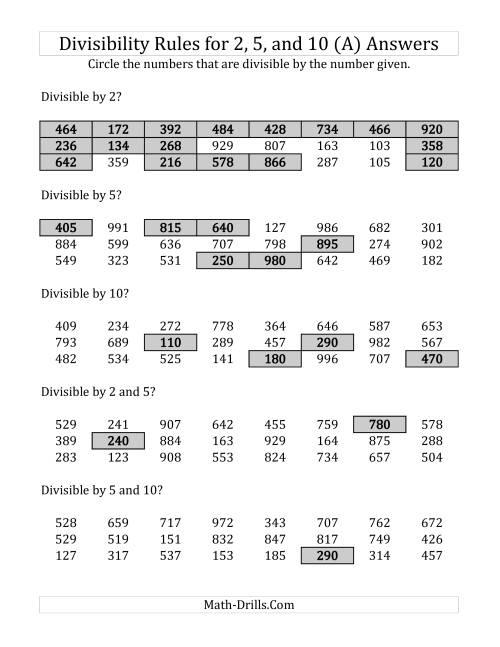 Divisibility Rules Worksheet - Checks Worksheet