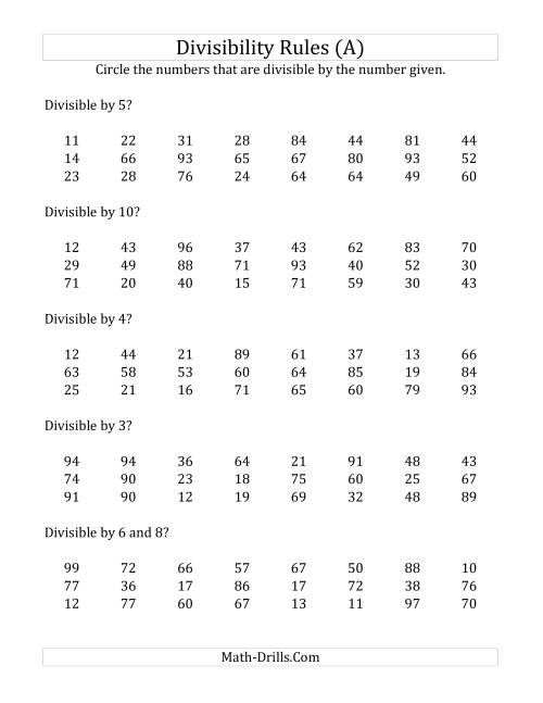 The Divisibility Rules for Numbers from 2 to 10 (2 Digit Numbers) (A)