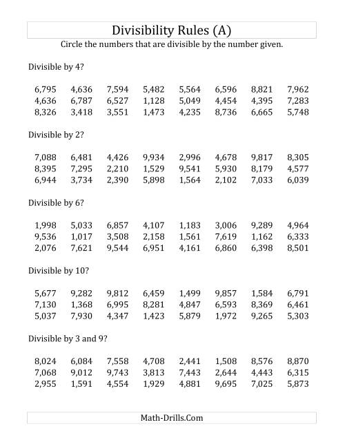 Divisibility Rules for Numbers from 2 to 10 4 Digit Numbers A – 4 Digit by 2 Digit Division Worksheets