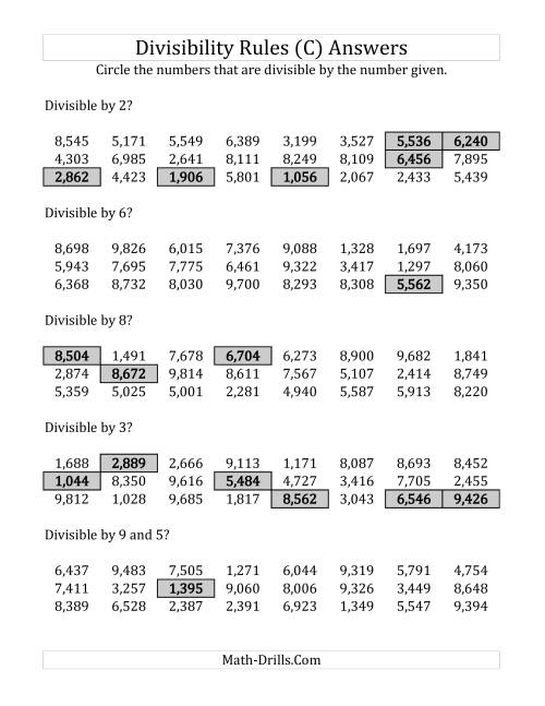 The Divisibility Rules for Numbers from 2 to 10 (4 Digit Numbers) (C) Math Worksheet Page 2