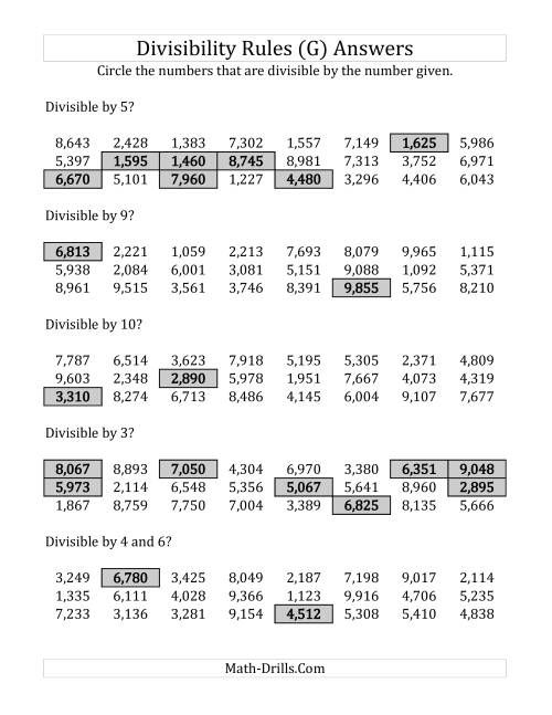 The Divisibility Rules for Numbers from 2 to 10 (4 Digit Numbers) (G) Math Worksheet Page 2