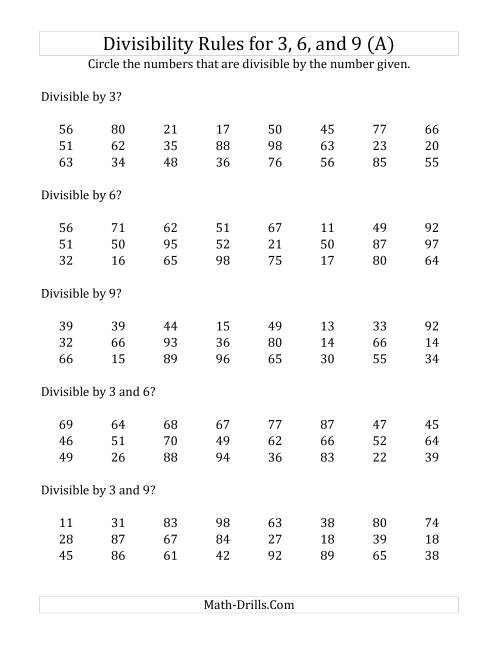 The Divisibility Rules for 3, 6 and 9 (2 Digit Numbers) (A) Math Worksheet