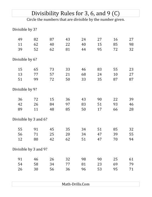 The Divisibility Rules for 3, 6 and 9 (2 Digit Numbers) (C) Math Worksheet