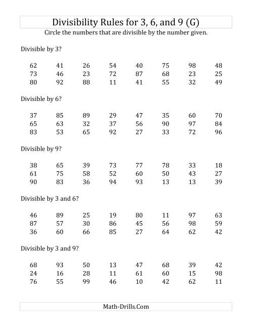 The Divisibility Rules for 3, 6 and 9 (2 Digit Numbers) (G) Math Worksheet