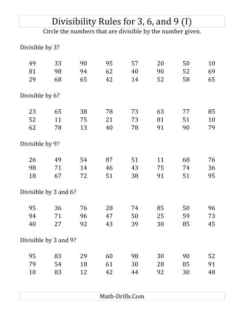 The Divisibility Rules for 3, 6 and 9 (2 Digit Numbers) (I) Math Worksheet