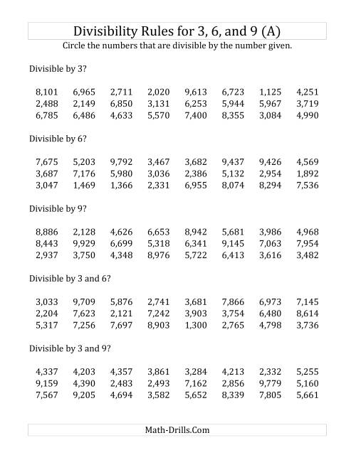 Divisibility Rules for 3, 6 and 9 (4 Digit Numbers) (A) Division ...
