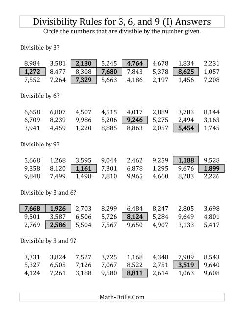 The Divisibility Rules for 3, 6 and 9 (4 Digit Numbers) (I) Math Worksheet Page 2