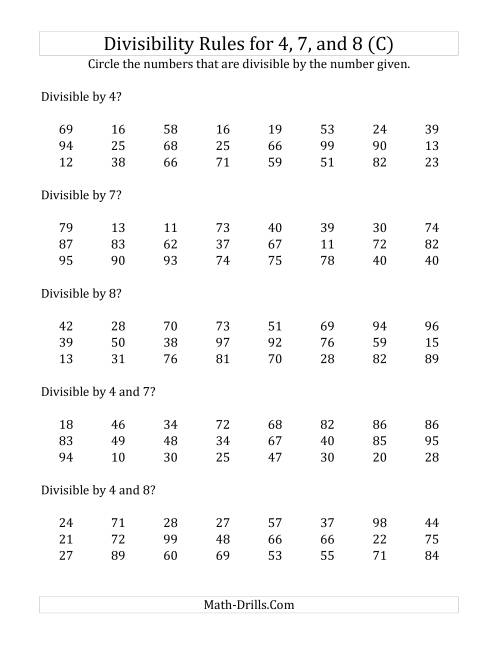 The Divisibility Rules for 4, 7 and 8 (2 Digit Numbers) (C) Math Worksheet