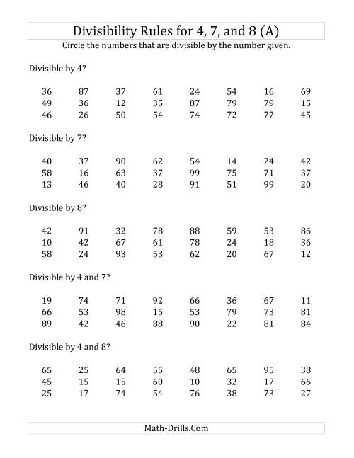 The Divisibility Rules for 4, 7 and 8 (2 Digit Numbers) (All) Math Worksheet