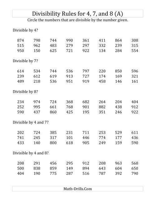 The Divisibility Rules for 4, 7 and 8 (3 Digit Numbers) (A) Math Worksheet