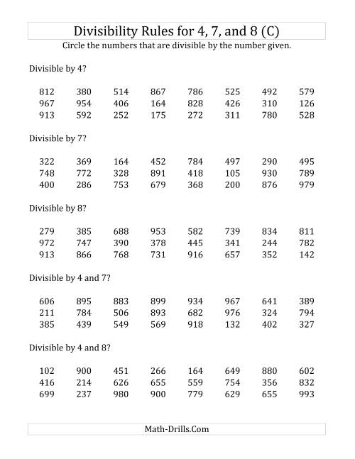 The Divisibility Rules for 4, 7 and 8 (3 Digit Numbers) (C) Math Worksheet