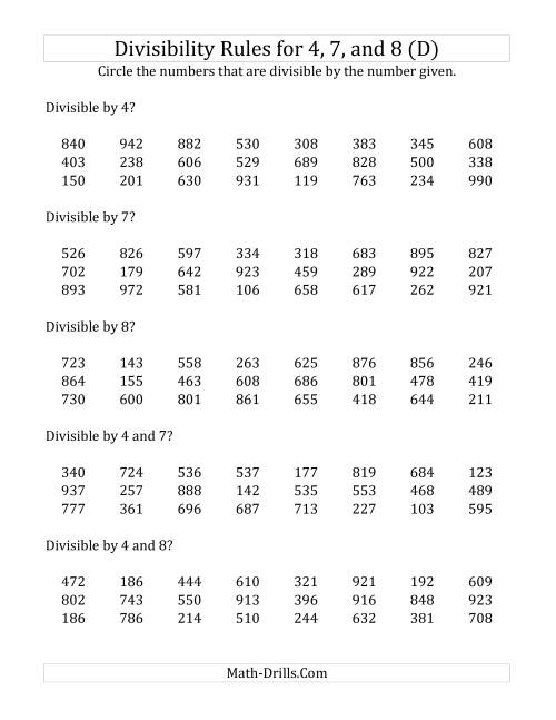The Divisibility Rules for 4, 7 and 8 (3 Digit Numbers) (D) Math Worksheet