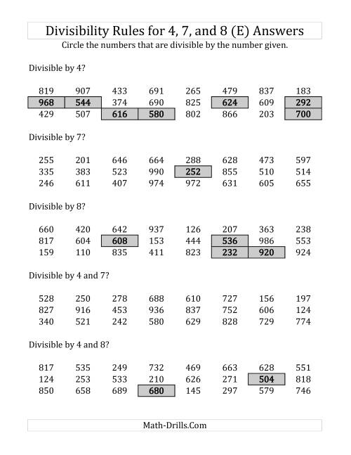 Divisibility Rules For 4 7 And 8 3 Digit Numbers E