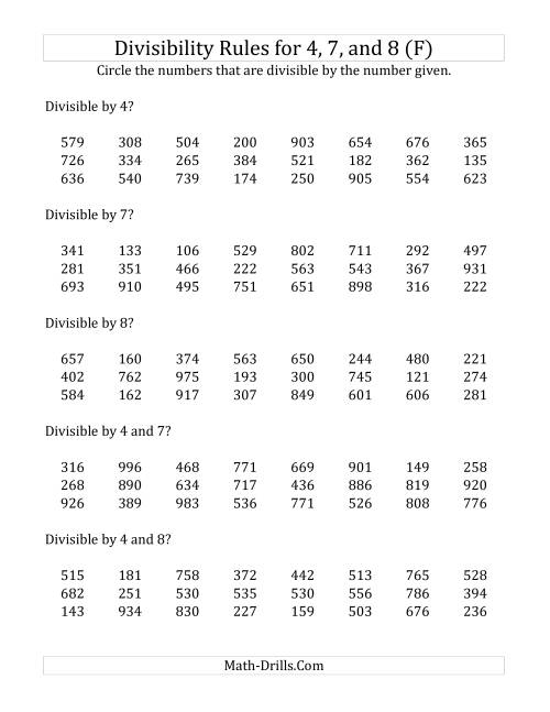 The Divisibility Rules for 4, 7 and 8 (3 Digit Numbers) (F) Math Worksheet