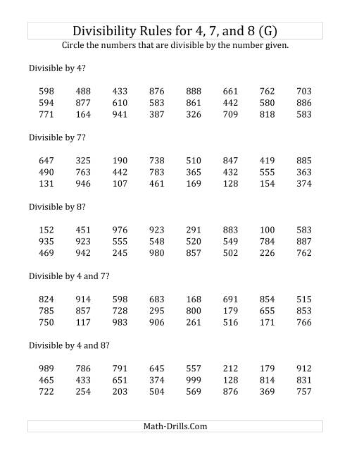 The Divisibility Rules for 4, 7 and 8 (3 Digit Numbers) (G) Math Worksheet
