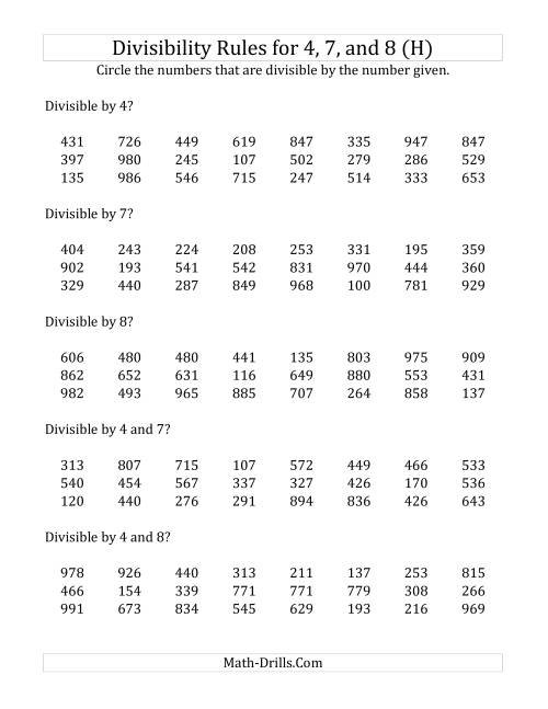 The Divisibility Rules for 4, 7 and 8 (3 Digit Numbers) (H) Math Worksheet