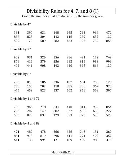 The Divisibility Rules for 4, 7 and 8 (3 Digit Numbers) (I) Math Worksheet