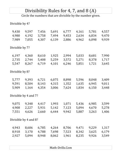 Divisibility Rules For 4 7 And 8 4 Digit Numbers A