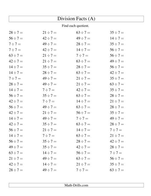 The Dividing by 7 with Quotients from 1 to 9 (A) Math Worksheet
