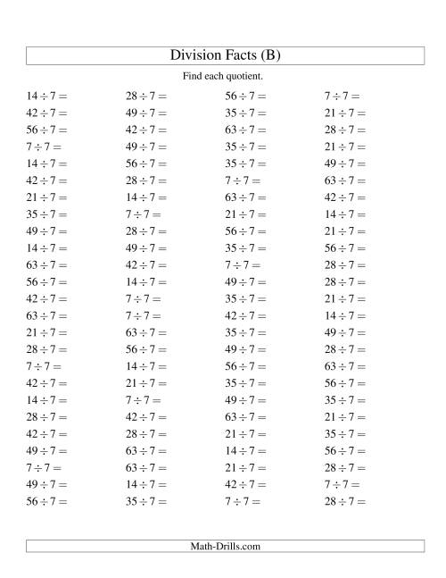 The Dividing by 7 with Quotients from 1 to 9 (B) Math Worksheet