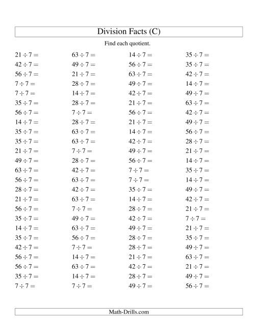 The Dividing by 7 with Quotients from 1 to 9 (C) Math Worksheet