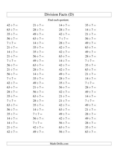 The Dividing by 7 with Quotients from 1 to 9 (D) Math Worksheet