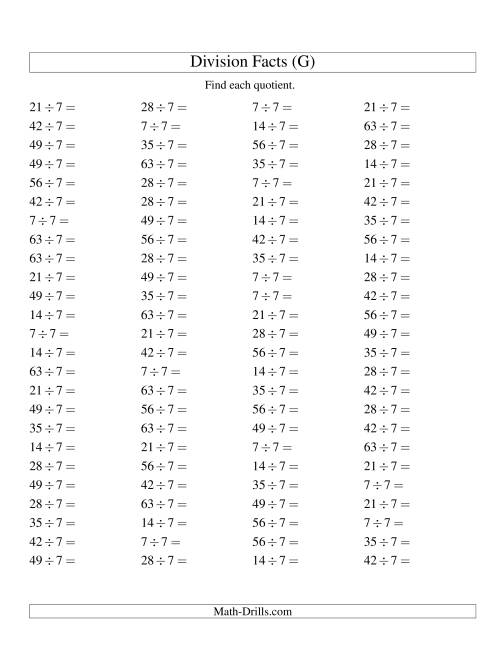 The Dividing by 7 with Quotients from 1 to 9 (G) Math Worksheet