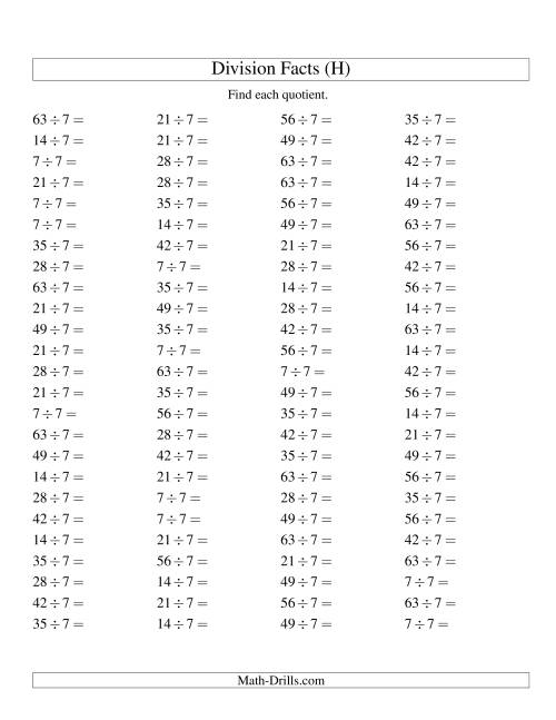 The Dividing by 7 with Quotients from 1 to 9 (H) Math Worksheet